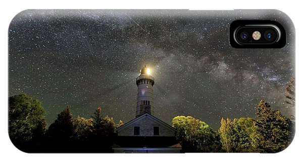 IPhone Case featuring the photograph Milky Way Over Cana Island Lighthouse by Paul Schultz