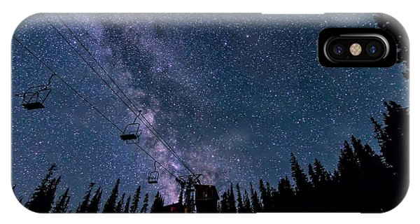 Milky Way Over Chairlift IPhone Case