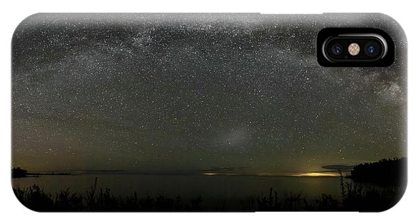 IPhone Case featuring the photograph Milky Way Over Lake Michigan At Cana Island Lighthouse by Paul Schultz