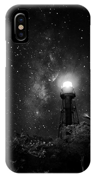 Milky Way Over The Sanibel Lighthouse In Black And White IPhone Case