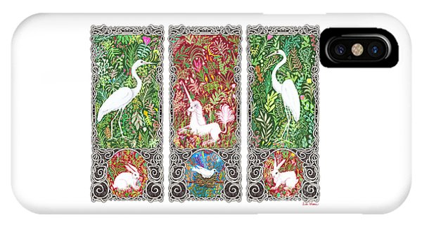 Millefleurs Triptych With Unicorn, Cranes, Rabbits And Dove IPhone Case