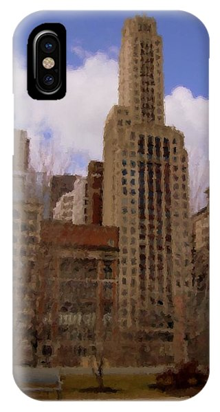 Park Bench iPhone Case - Millenium Park And Bench 1 by Anita Burgermeister