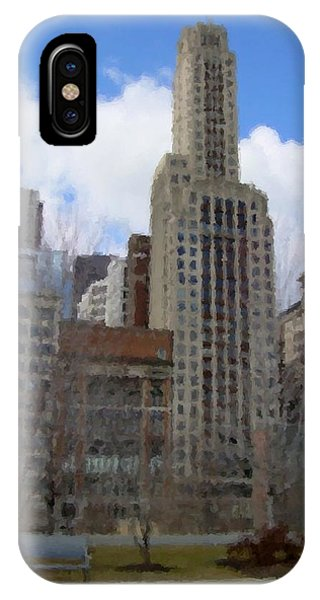 Park Bench iPhone Case - Millenium Park And Bench 2 by Anita Burgermeister