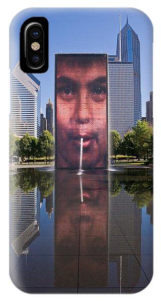 Chicago Skyline Art iPhone Case - Millennium Park Fountain And Chicago Skyline by Steve Gadomski