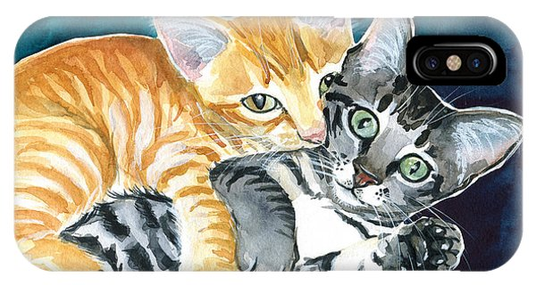 Milo And Tigger - Cute Kitty Painting IPhone Case