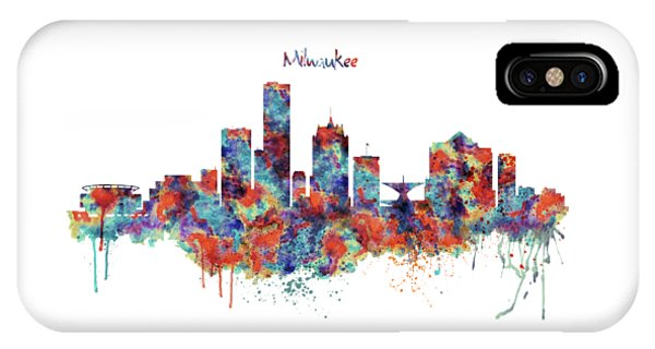 Bar iPhone Case - Milwaukee Watercolor Skyline by Marian Voicu