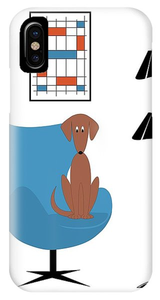 IPhone Case featuring the digital art Mini Abstract With Brown Dog by Donna Mibus