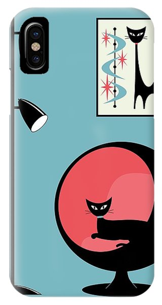 Mini Atomic Cat On Turquoise IPhone Case