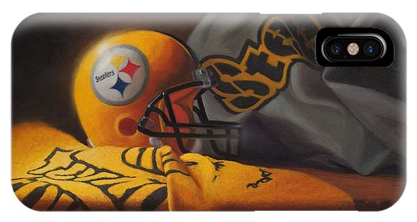 IPhone Case featuring the painting Mini Helmet Commemorative Edition by Joe Winkler