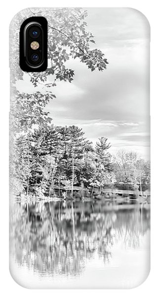Minimalist Fall Scene In Black And White IPhone Case