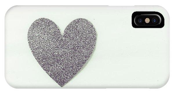 Minimalistic Silver Glitter Heart IPhone Case
