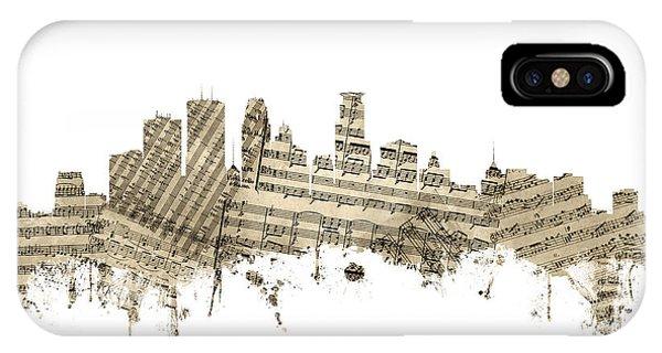 Minnesota iPhone Case - Minneapolis Minnesota Skyline Sheet Music by Michael Tompsett