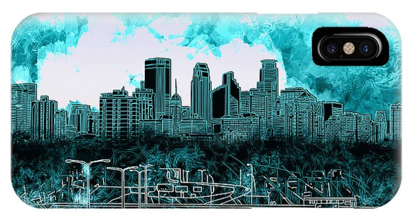 Mississippi River iPhone Case - Minneapolis Skyline Abstract 3 by Bekim M
