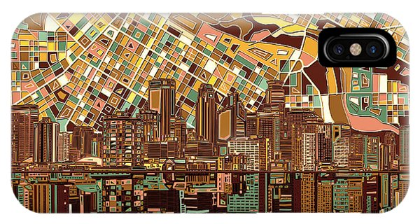 Mississippi River iPhone Case - Minneapolis Skyline Abstract 8 by Bekim M