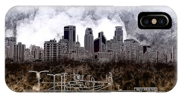 Mississippi River iPhone Case - Minneapolis Skyline Abstract by Bekim M