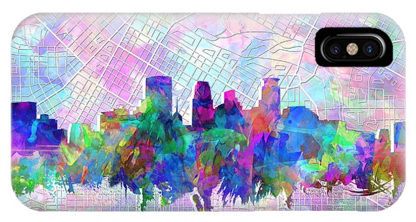 Mississippi River iPhone Case - Minneapolis Skyline Watercolor by Bekim M