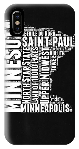 Midwest iPhone Case - Minnesota Black And White Word Cloud Map by Naxart Studio