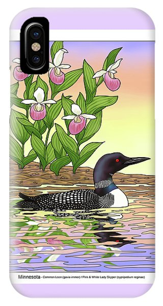 Loon iPhone Case - Minnesota State Bird Loon And Flower Ladyslipper by Crista Forest