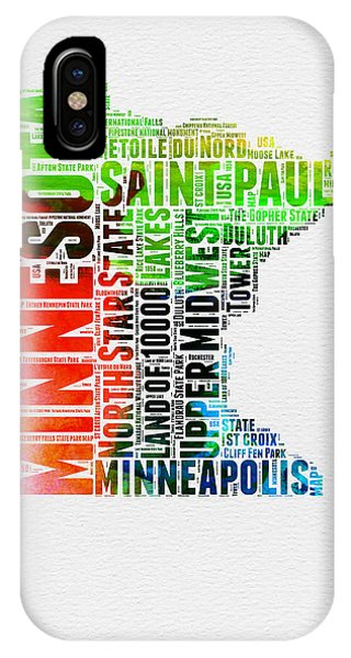 Minnesota iPhone Case - Minnesota Watercolor Word Cloud Map  by Naxart Studio