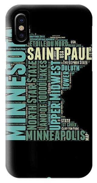 Minnesota iPhone Case - Minnesota Word Cloud Map 1 by Naxart Studio