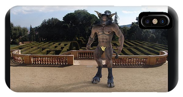 Minotaur iPhone Case - Minotaur In The Labyrinth Park Barcelona. by Joaquin Abella