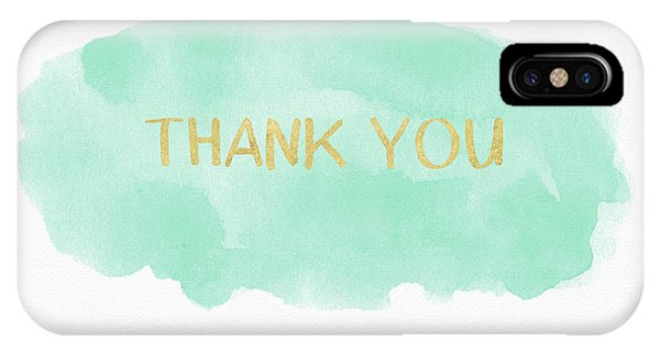 Mint And Gold Watercolor Thank You- Art By Linda Woods IPhone Case