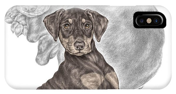 Mischief ... Moi? - Doberman Pinscher Puppy - Color Tinted IPhone Case