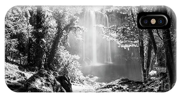IPhone Case featuring the photograph Misol Ha Waterfall Mexico Black And White by Tim Hester