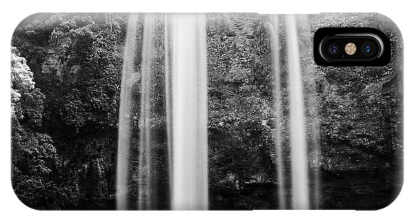 IPhone Case featuring the photograph Misol Ha Waterfall Palenque Black And White by Tim Hester
