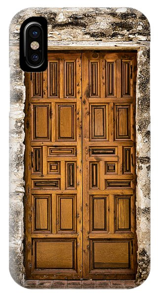 Meditative iPhone Case - Mission Concepcion Door #3 by Stephen Stookey