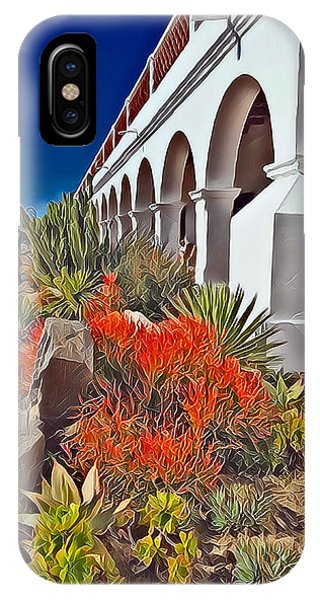 Mission San Luis Rey Garden IPhone Case