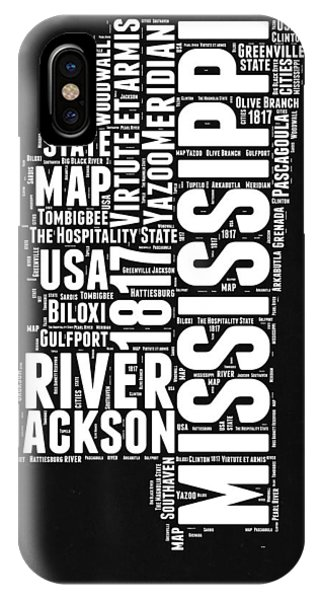 Mississippi River iPhone Case - Mississippi Black And White Map by Naxart Studio