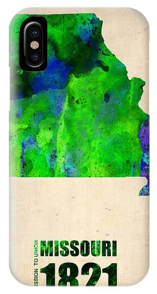 Missouri iPhone Case - Missouri Watercolor Map by Naxart Studio