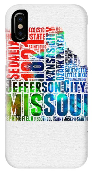 Missouri iPhone Case - Missouri Watercolor Word Cloud Map  by Naxart Studio