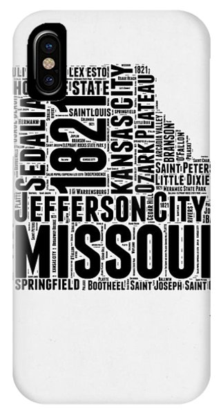 Missouri iPhone Case - Missouri Word Cloud Map 2 by Naxart Studio