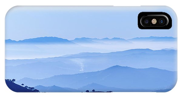 IPhone Case featuring the photograph Misty Blue Mountain Panorama by Geoff Smith