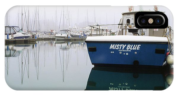 IPhone Case featuring the photograph Misty Blue, Sovereign Harbour, Eastbourne by Will Gudgeon