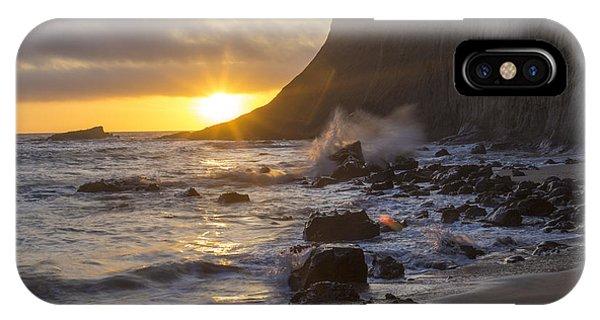 Half Moon iPhone Case - Misty Cliffs by Jeremy Jensen