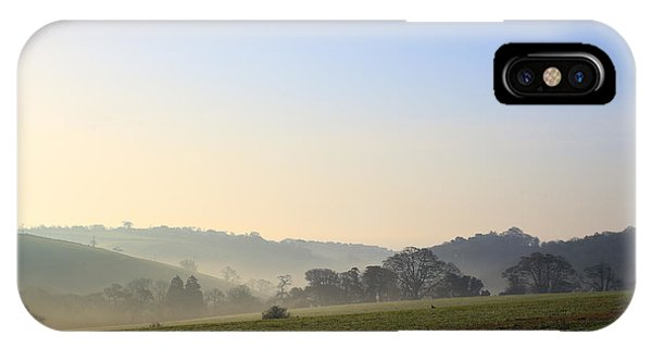 Misty Dawn Over The Cornish Countryside IPhone Case