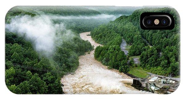 Misty Morning At Summersville Lake Dam IPhone Case