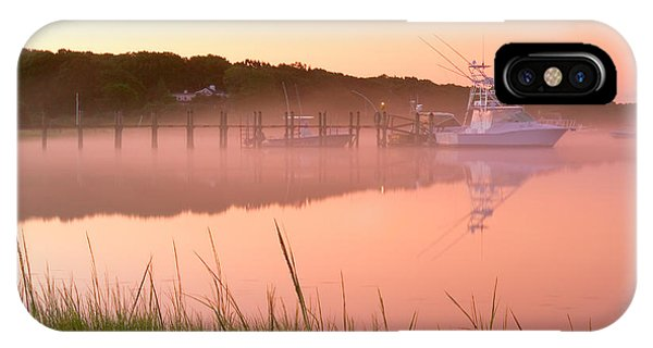 Powerboat iPhone Case - Misty Morning Osterville Cape Cod by Matt Suess
