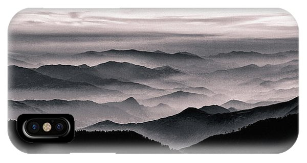 IPhone Case featuring the mixed media Misty Mountain Noir by Susan Maxwell Schmidt