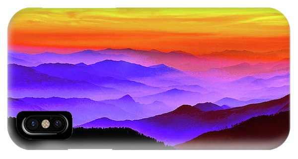 IPhone Case featuring the mixed media Misty Mountains Sunset by Susan Maxwell Schmidt
