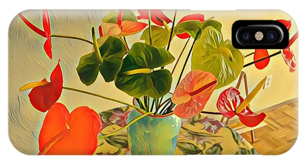 Mixed Aloha Anthuriums Matisse IPhone Case
