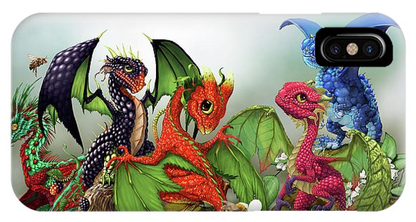 Blueberry iPhone Case - Mixed Berries Dragons by Stanley Morrison