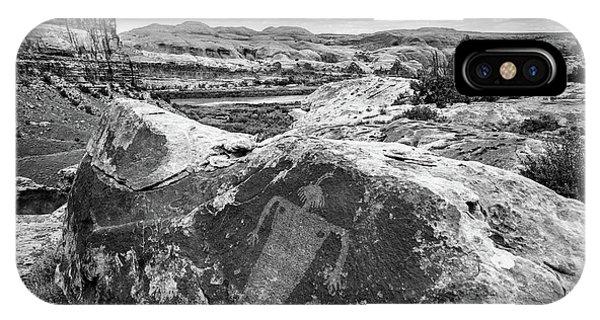 Moab Maiden Petroglyph - Black And White - Utah IPhone Case