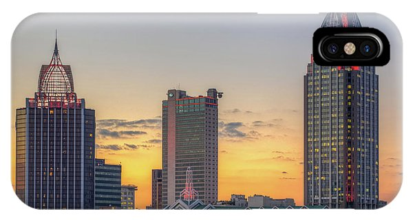 Mobile Skyline At Sunset IPhone Case
