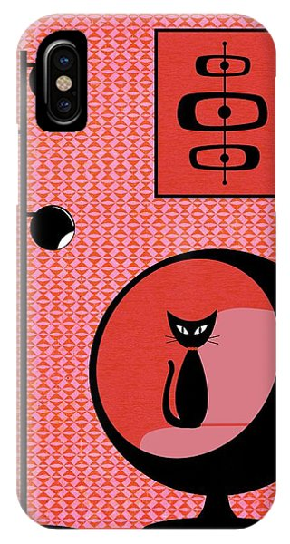 IPhone Case featuring the digital art Mod Wallpaper Red On Pink by Donna Mibus