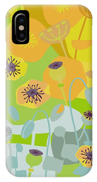Mustard iPhone Case - Mod Yellow Poppies by CR Leyland