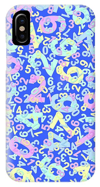 Modern Design With Random Colorful Numbers With Shadow Edges On A Blue Background  IPhone Case